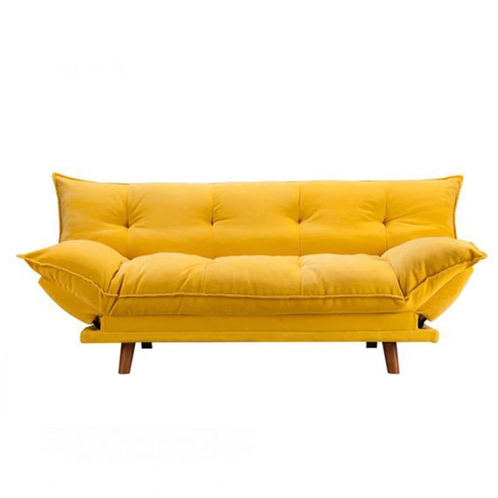 Canapé en tissu jaune capitonné moeulleux avec pieds en bois