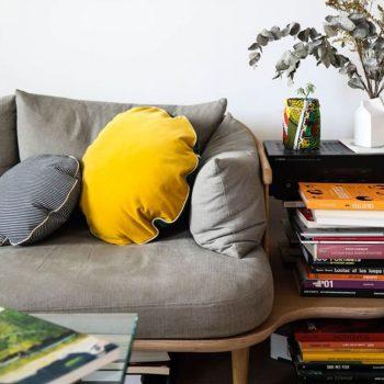 canapé gris avec coussin jaune et déco de plantes