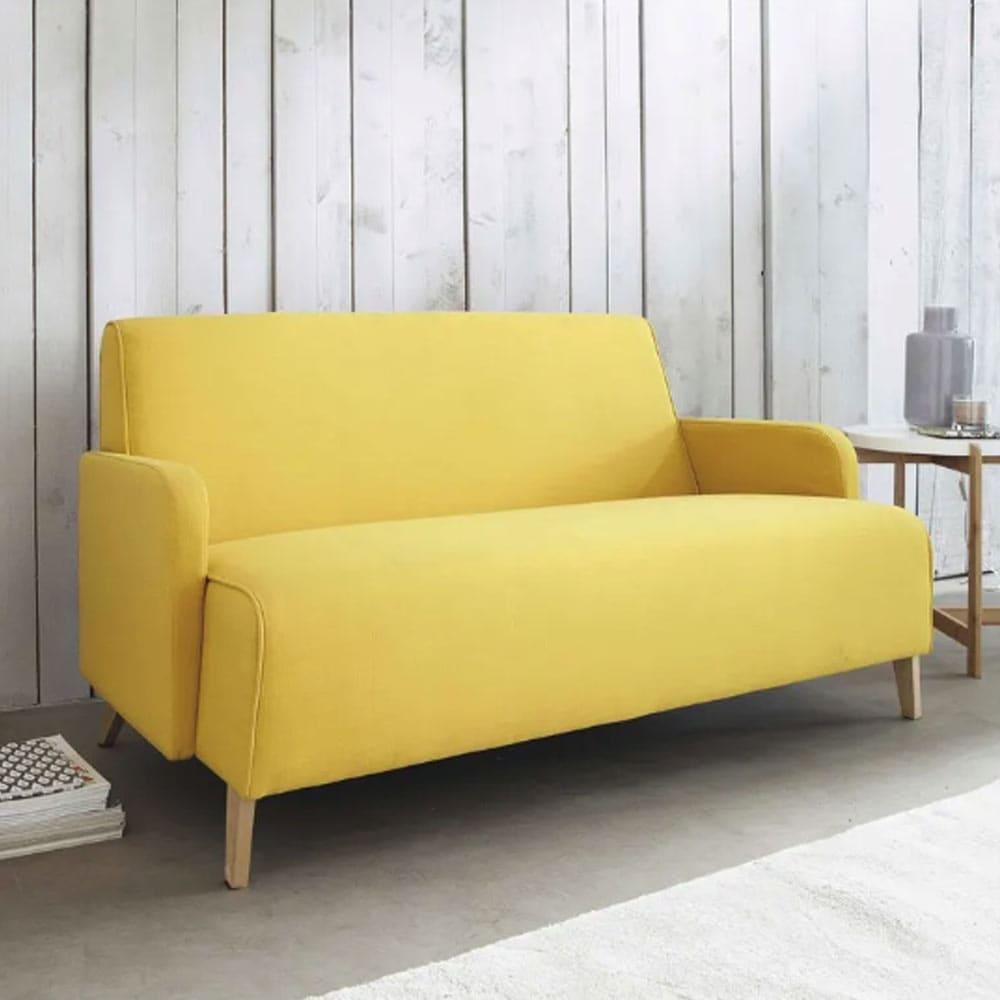 Canapé 2 places en tissu jaune