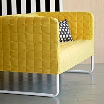canape knopparp jaune avec coussin