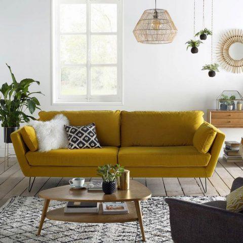 Canapé en velours jaune Topim