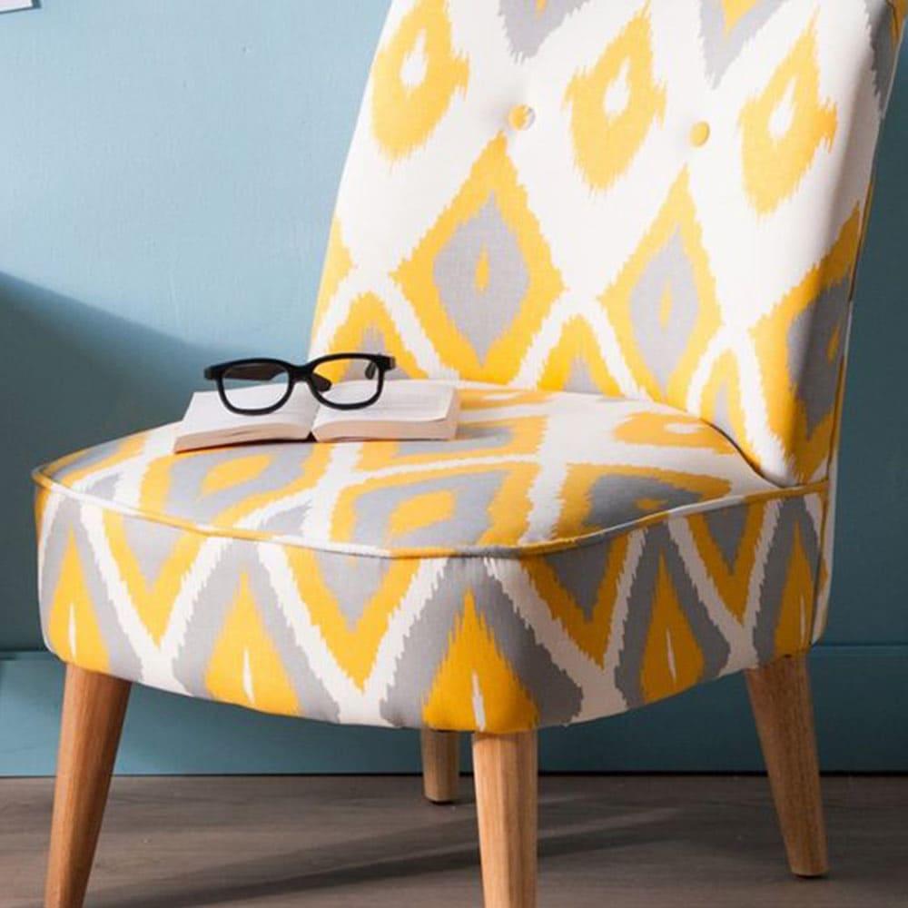 fauteuil jaune motif geometriques