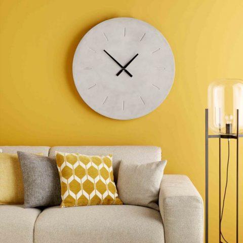 Coussin graphique jaune moutarde et blanc 45x45cm Aston