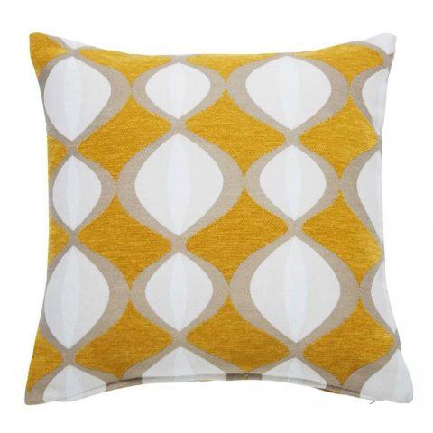 Coussin jaune moutarde Twiggy motifs bicolores 45x45cm