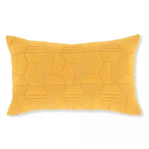 coussin molletonné à motif géométrique 30 x 50 cm, jaune moutarde