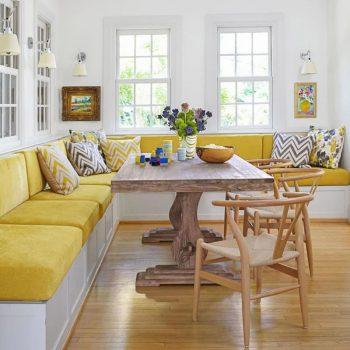 photo de cuisine avec banquette jaune
