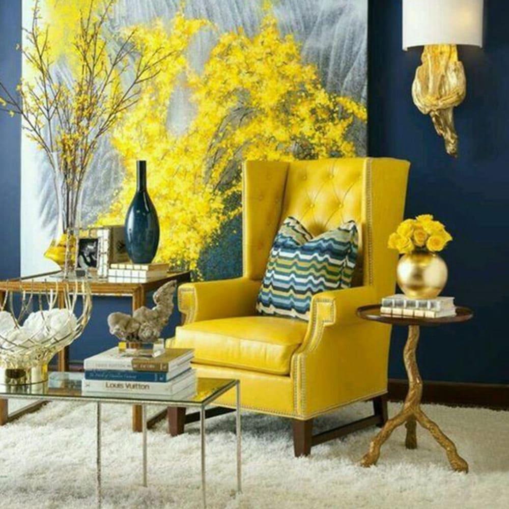 idée de fauteuil jaune ancien à oreilles genre Ikea strandmon