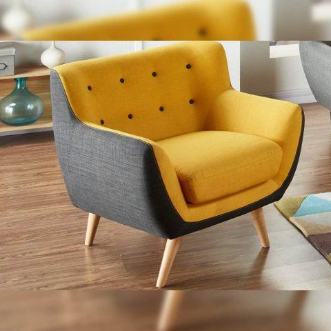 fauteuil jaune de vente unique serti