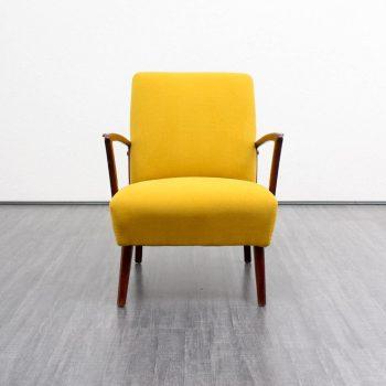 fauteuil jaune mousse et bois