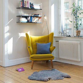 fauteuil jaune scandinave
