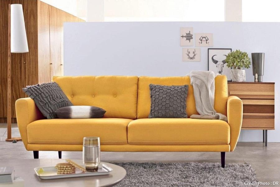 canapé tissu jaune