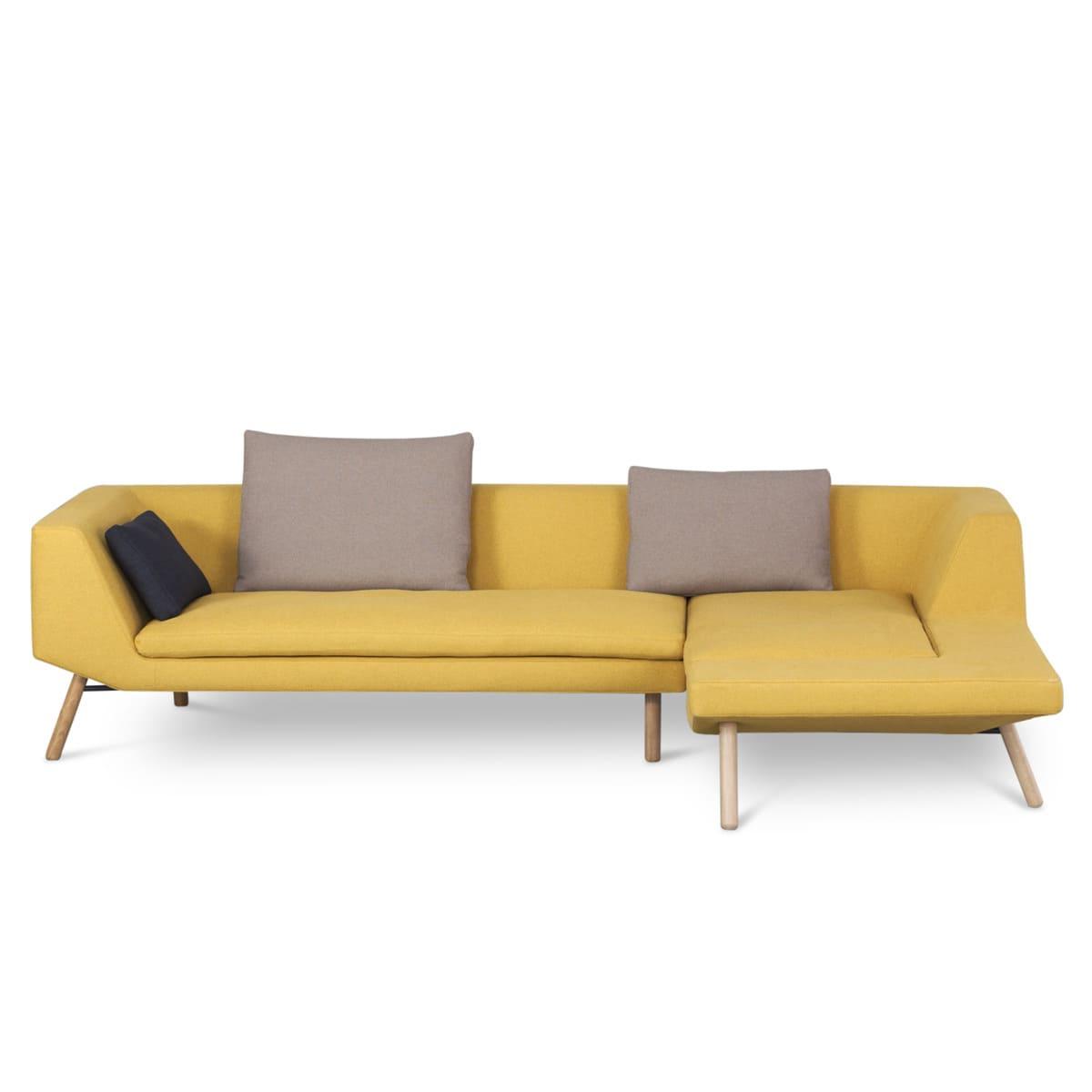 photo de canapé jaune moutarde 4 places d'angle
