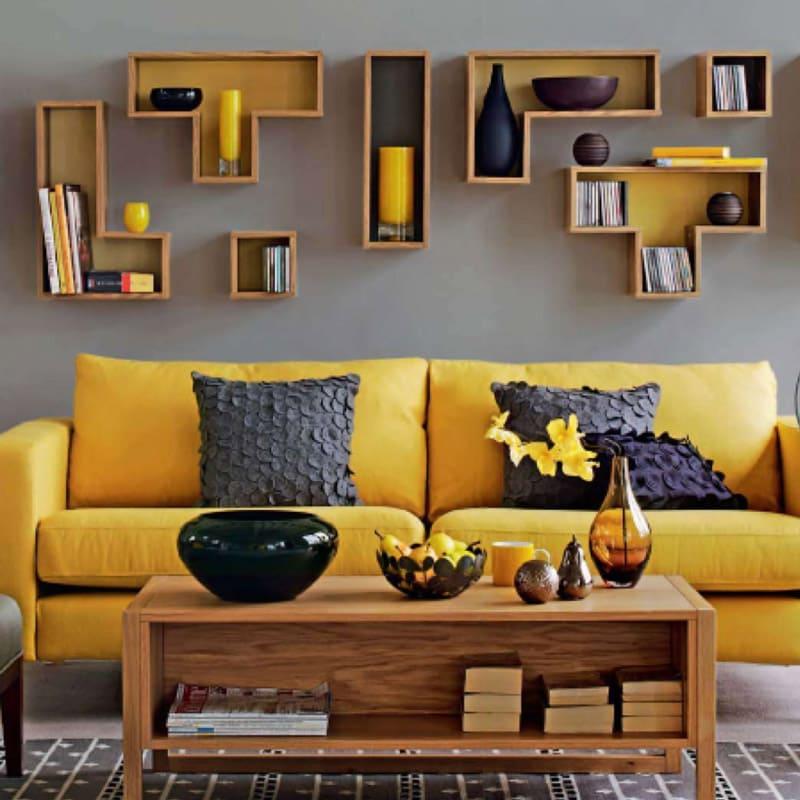 Photo de salon scandinave avec canap jaune photos de for Canape salon scandinave
