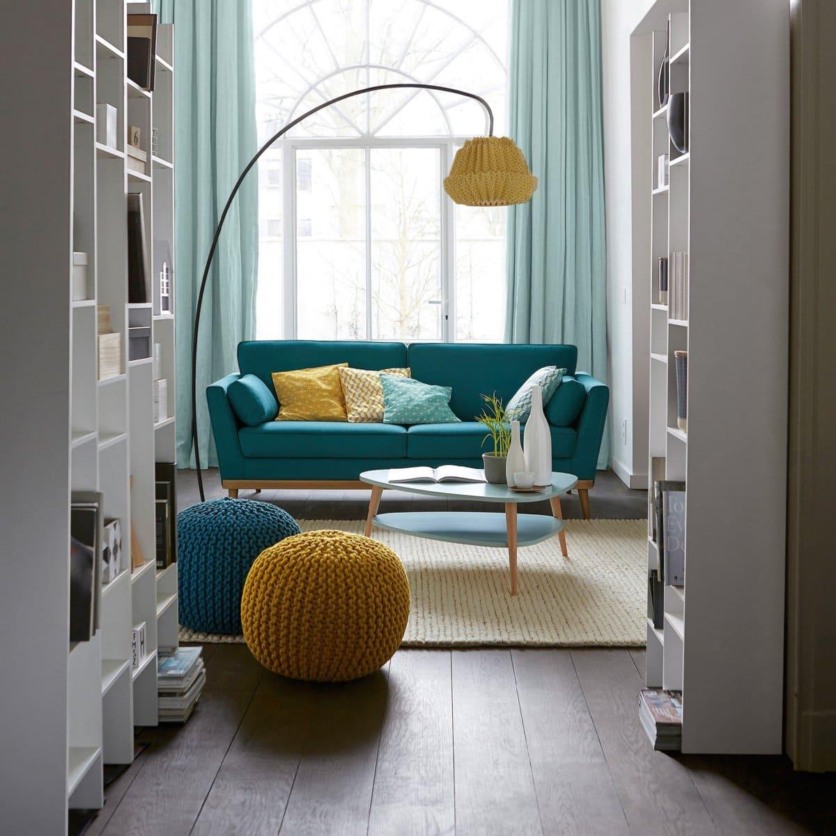 photo deco salon avec canapé vert et jaune
